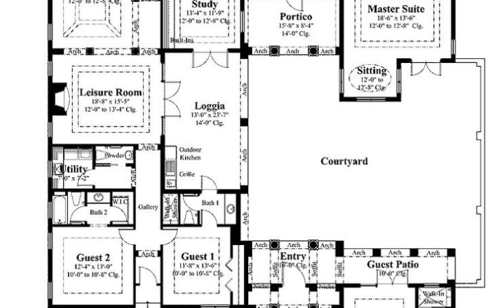Home Design Appealing House Plans Front Courtyard