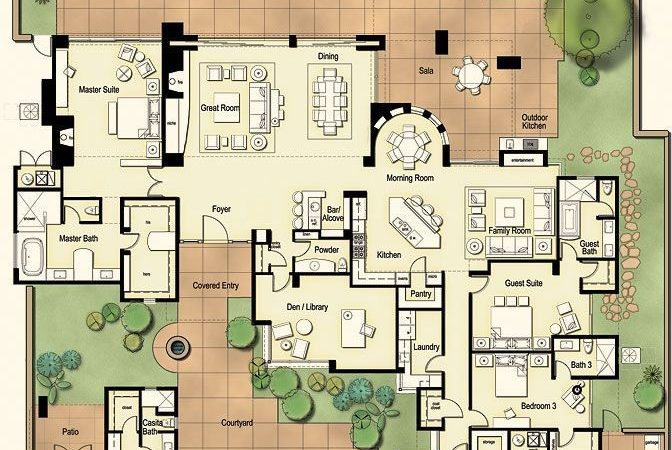 Home Hacienda Floor Plan Luxury Plans Custom