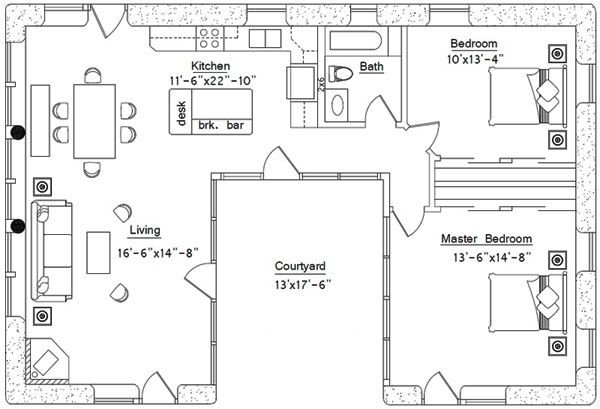 House Plan Shaped Ranch Home Design Style