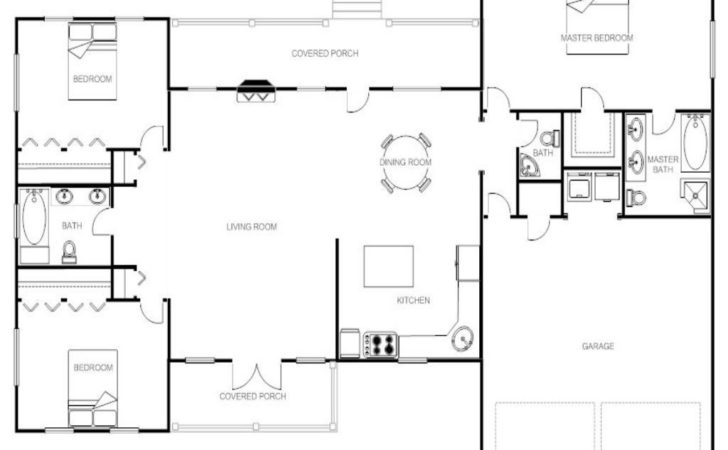 House Plans Shaped Ranch Home