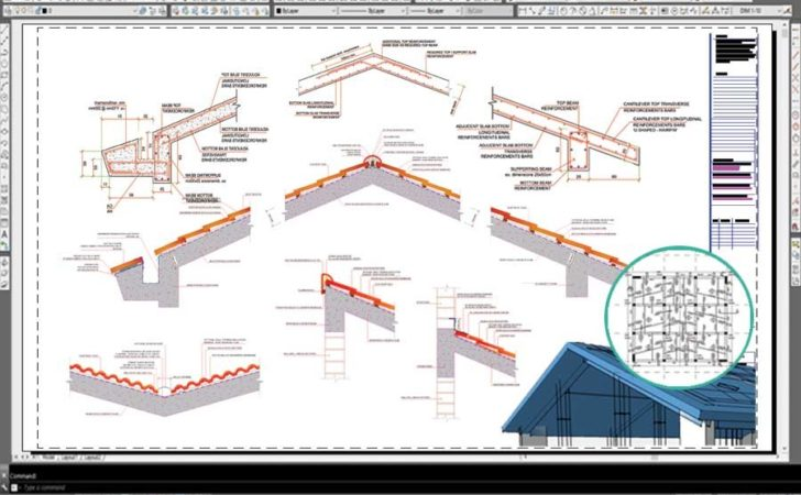 Inclined Pitched Roof Concrete Slab Reinforcement Example