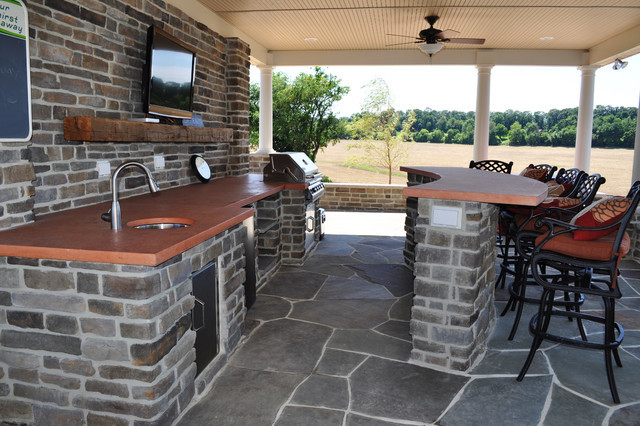 Interior Pool House Outdoor Kitchen Traditional