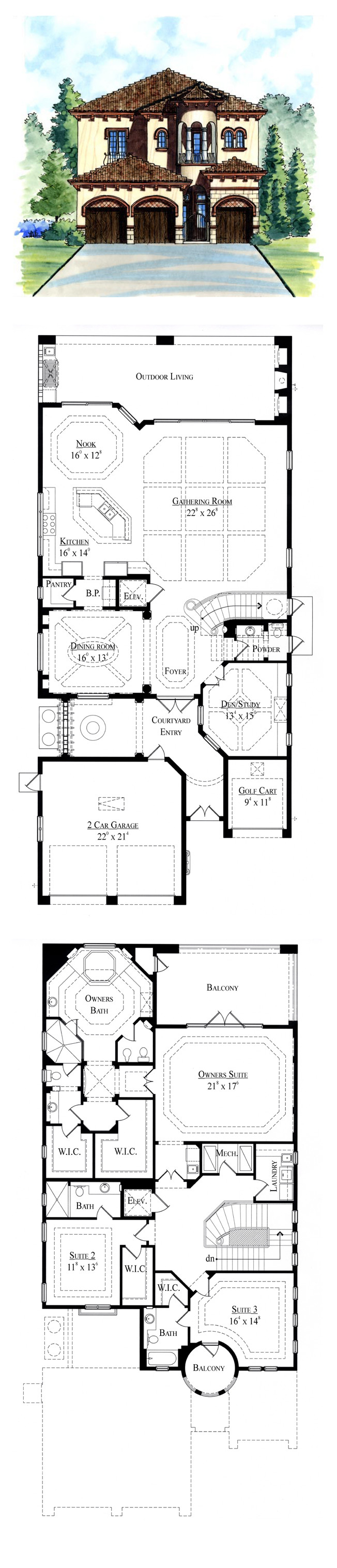 Italian House Plan Total Living Area