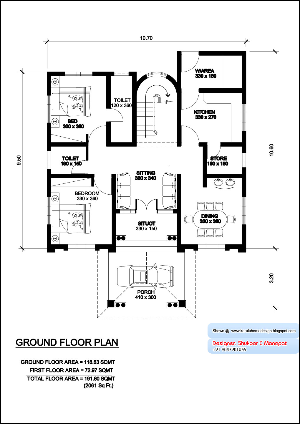 Kerala Model Villa Plan Elevation Feet