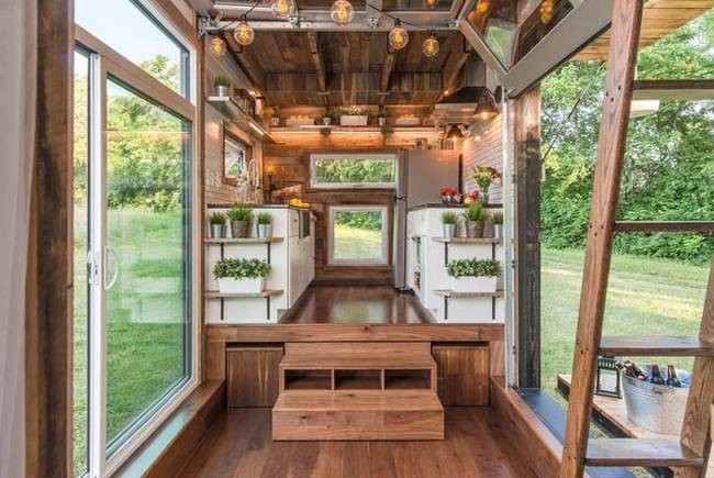 Luxurious Alpha Tiny House Opens Wide Both Sides Let