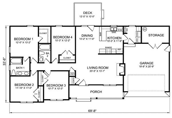 Luxury Four Bedroom Ranch House Plans New Home Design
