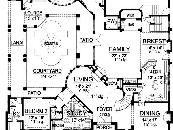 Luxury House Plan Central Courtyard