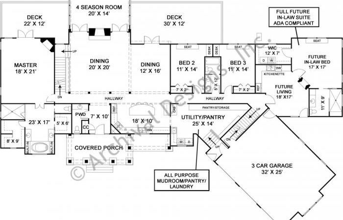 Luxury Ranch House Plan Accessible Law Suite First
