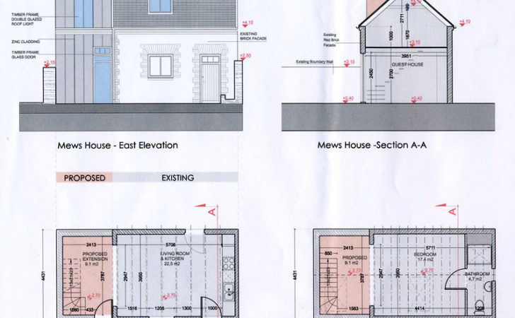 Mews House Extention Cad Drawings Propoesd Work