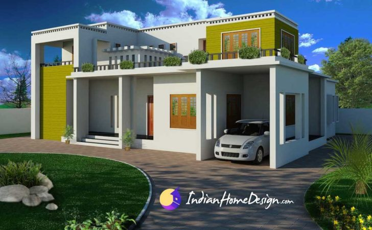 Modern Contemporary Flat Roof Indian Home Design Shahid