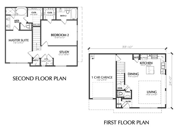 Modern Two Story Townhouse Floor Plan Sale