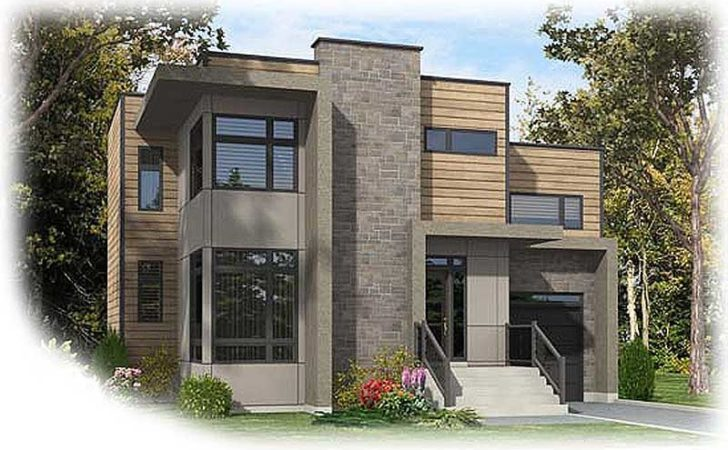 Narrow Lot Contemporary Home Plan Floor