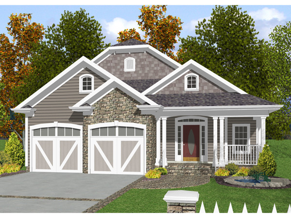 Narrow Lot House Plans Front Garage Cottage