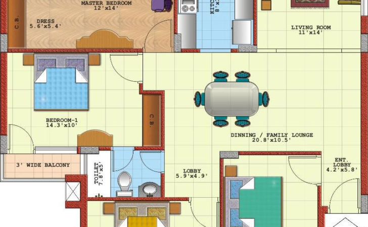Nice Bedroom Apartment House Plans