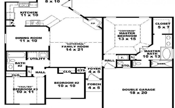 One Story Bedroom Bath House Plans Apartment