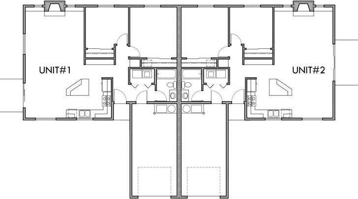 One Story Duplex House Plans Bedroom