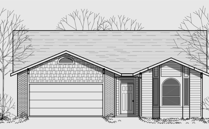 One Story House Plans Narrow Lot Wide