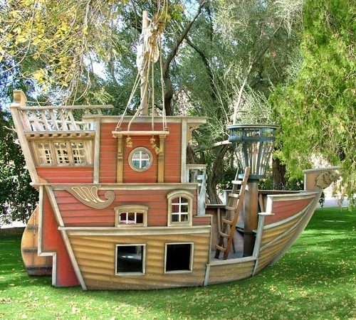 Outdoor Kids Play House Boys Pirate Ship Playhouse