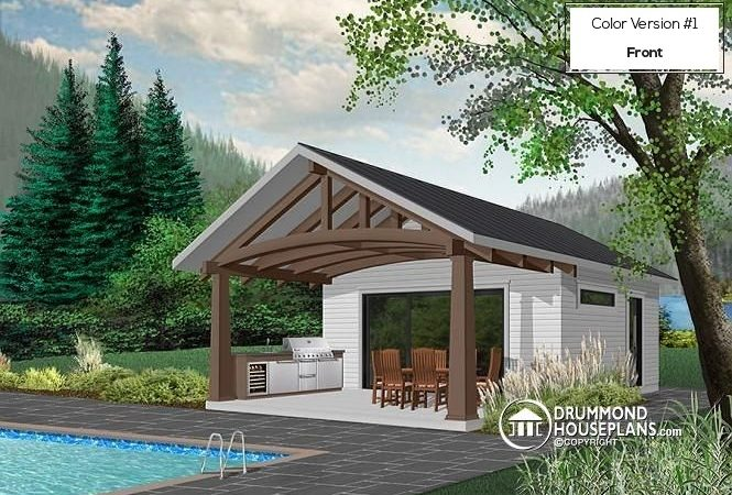Outdoor Kitchen Pool House Plans