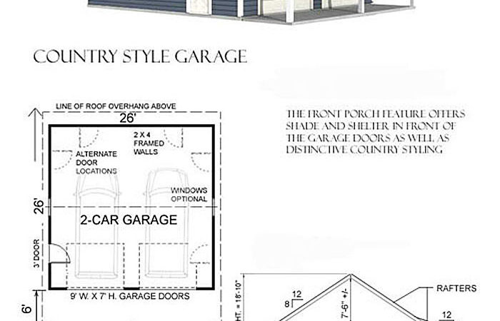 Over Sized Car Garage Front Porch Plan