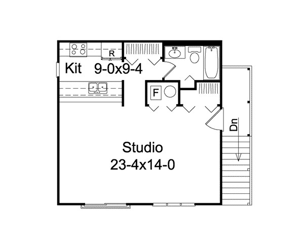 Parker Studio Apartment Garage Plan House