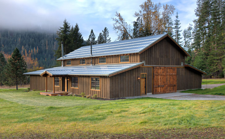Pole Barn House Plans Exterior Rustic Dark Wood