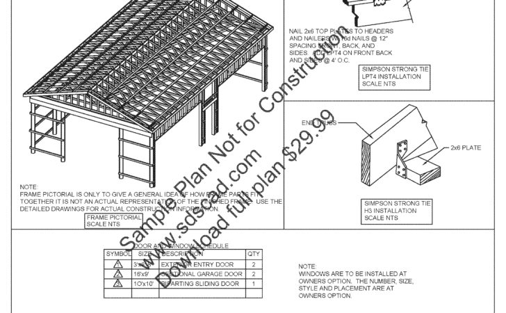 Pole Barn Plans Car Garage Sds