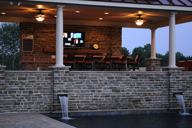 Pool House Outdoor Kitchen Traditional Patio