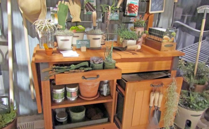 Potting Bench Decorating Ideas Comes Hardwood Table