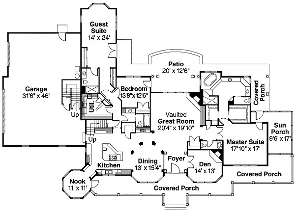 Rambling American Country Style House Plan