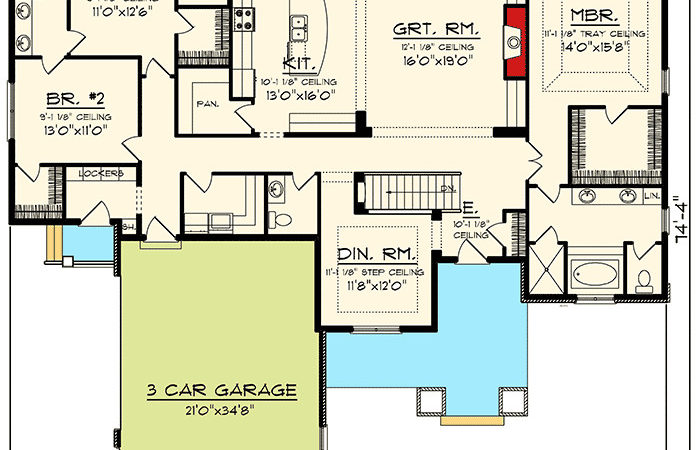 Ranch Plan Large Great Room Architectural