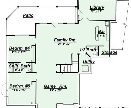 Ranch Style Open Floor Plans Basement Areas Colored