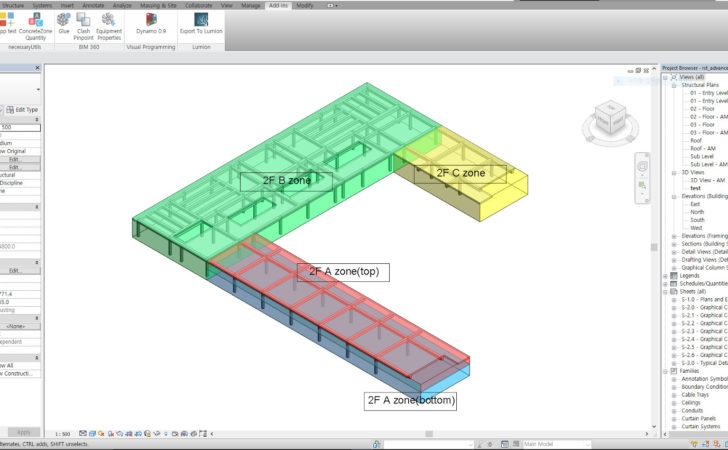 Revit Add Ons Concrete Zone Quantity