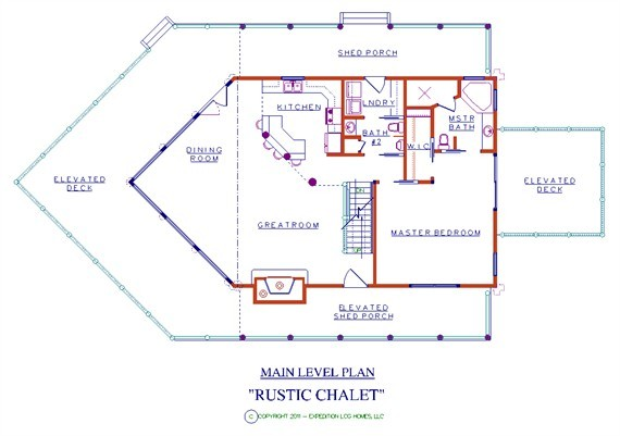 Rustic Chalet Log Floor Plan Cabin