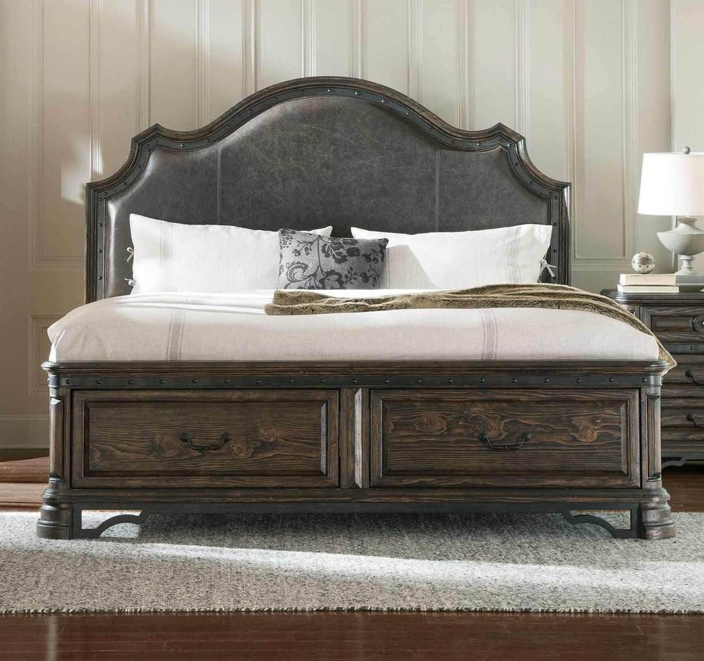 Rustic Spanish Style King Leather Storage Bed Bedroom