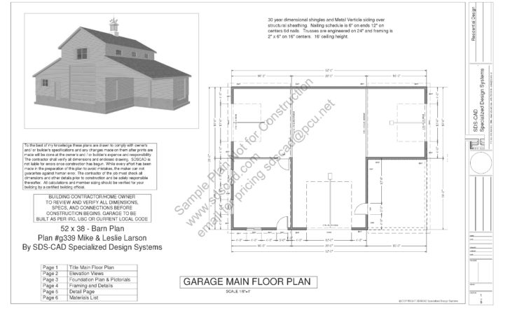 Sample Barn Plan