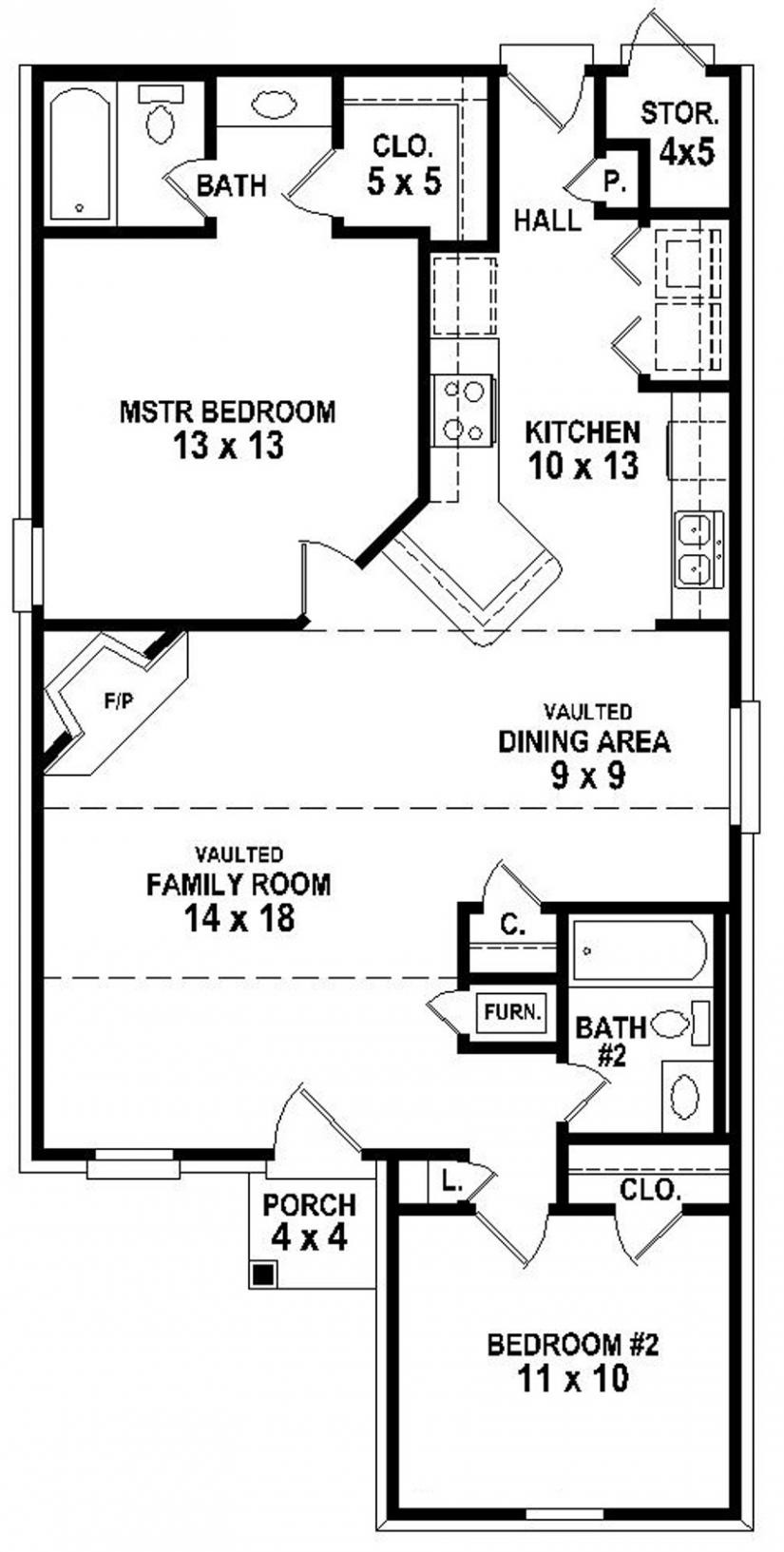 Simple Bedroom Bath House Plan Plans