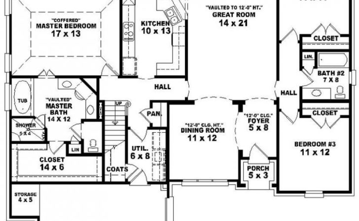 Simple Bedroom House Plans Bath Traditional Ranch