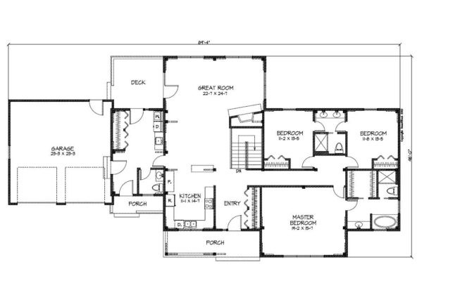 Simple Ranch Style Home Blueprints Placement