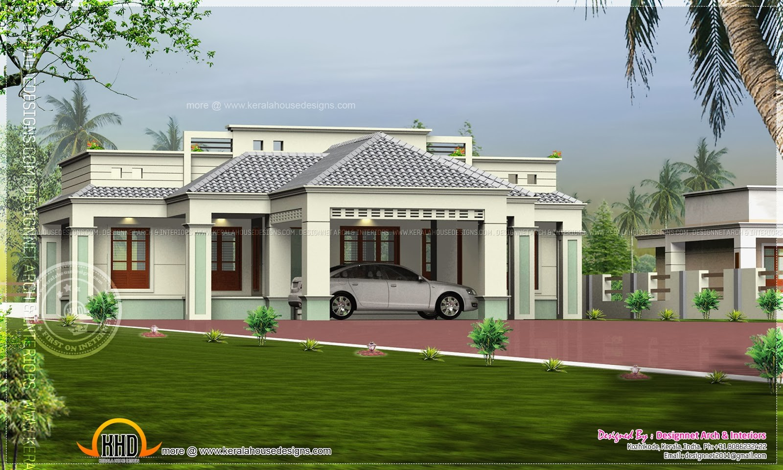 Single Floor Home Center Car Porch Indian House Plans