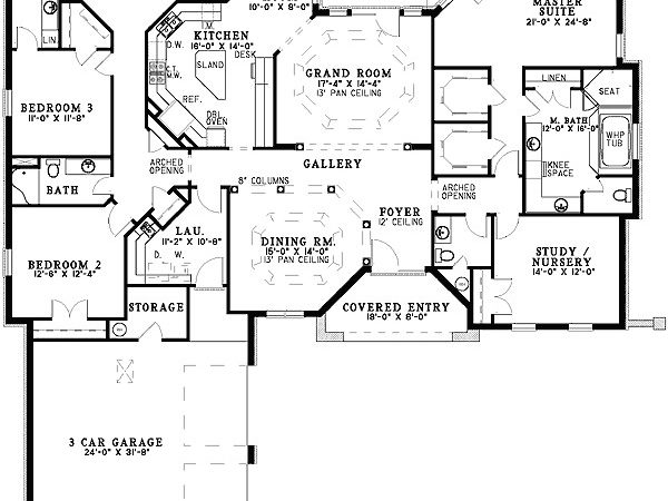 Single Level Florida Home Plan Cad Available