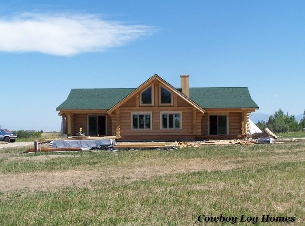 Single Story Handcrafted Log Home Cowboy Homes