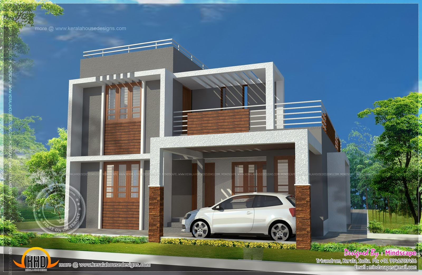 Small Double Storied Contemporary House Plan Indian