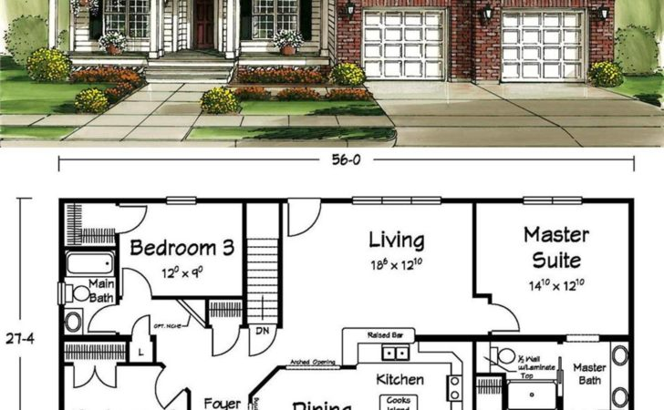 Small Footprint House Plans Luxury Ranch Traditional