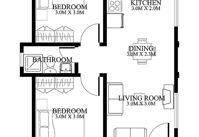 Small House Floor Plans Two Bedrooms Porch