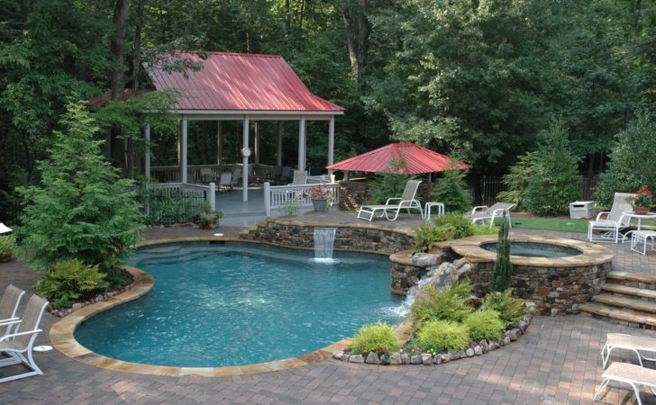 Small Inground Pool Patio Tile Brick Guest House
