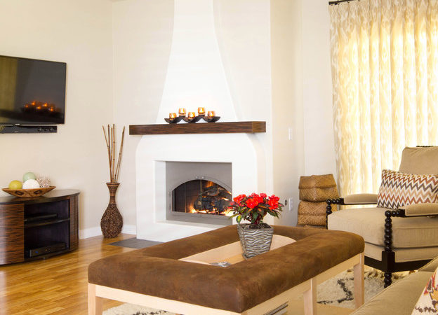 Southwestern Style Fireplace Living Room Los Angeles