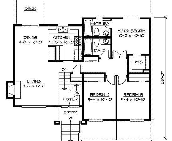 Split Level Home Plan Floor Master Suite