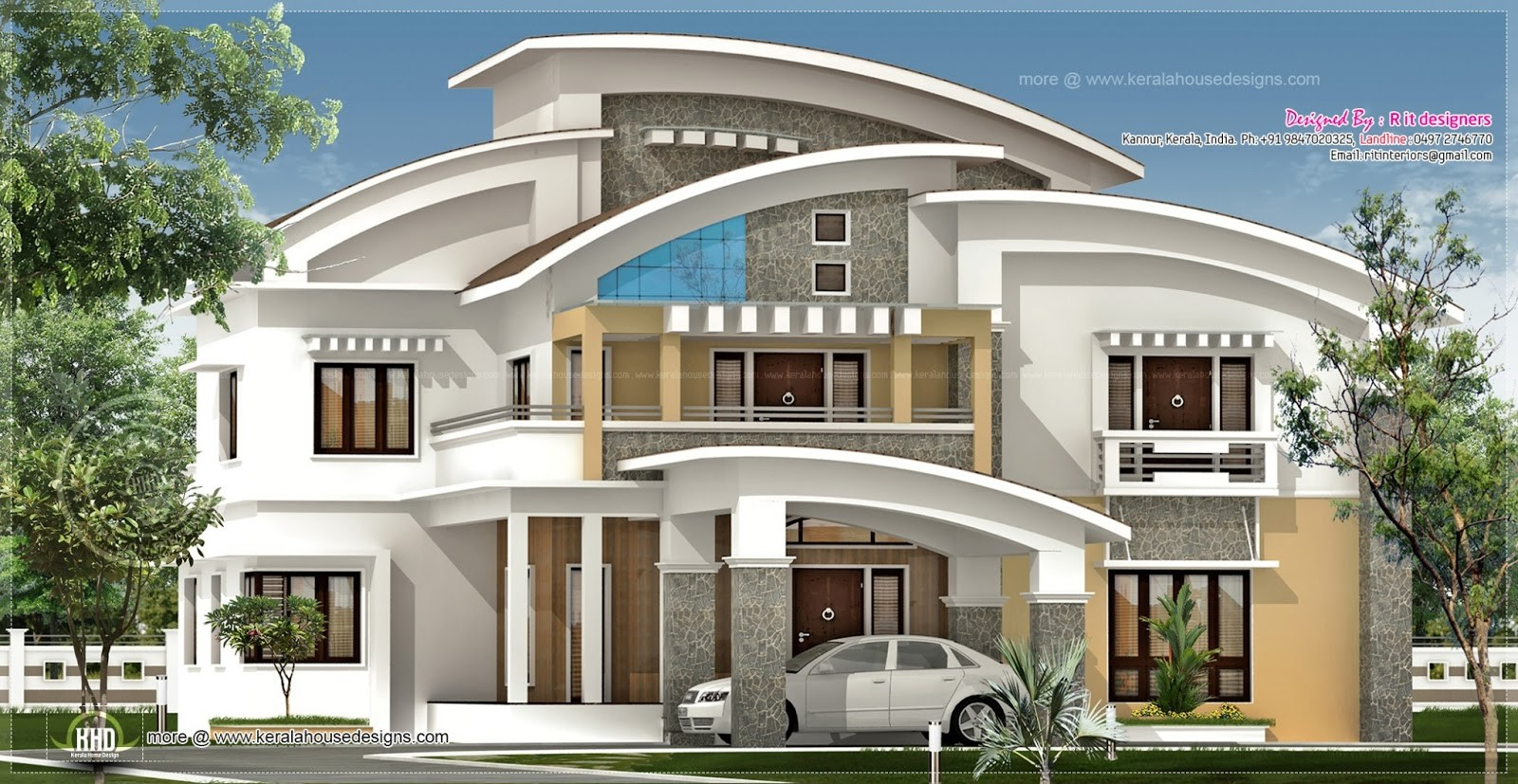Square Feet Luxury Villa Exterior Kerala Home