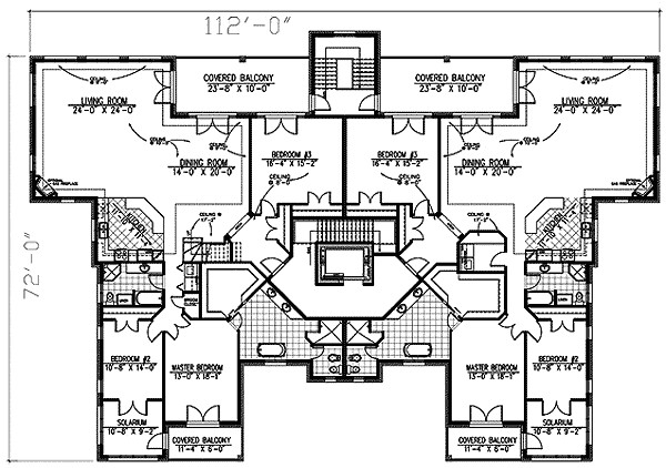 Stately Apartment House Plan Architectural